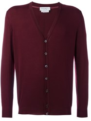 Salvatore Ferragamo Shell Button Cardigan Red