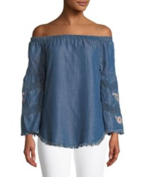 Philosophy Embroidered Off The Shoulder Chambray Shirt Indigo