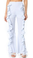 Viva Aviva Split Ruffle Bell Bottom Pants Light Blue White Stripe