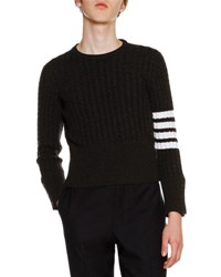 Thom Browne Classic Cable Knit Cashmere Sweater Dark Gray