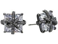 Betsey Johnson Cz Bow Stud Earrings Crystal Earring Gray