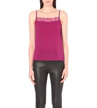 French Connection Poly Plains Lace Trim Woven And Jersey Vest Top Dark Magenta