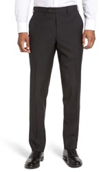 Jb Britches Men's Flat Front Solid Wool Trousers Black
