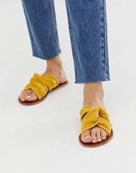 Warehouse Suede Knotted Sandal In Yellow