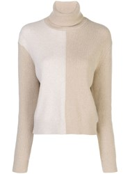 Theory Colour Block Turtle Neck Jumper Neutrals