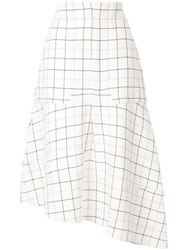 Tibi Midi Check Skirt White