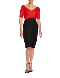 Nue By Shani Colorblock Sheath Dress Black Red