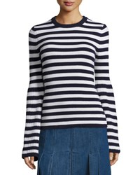 Michael Kors Striped Crewneck Cashmere Sweater Navy