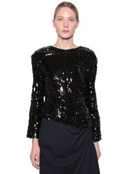 Act N 1 Long Sleeve Sequin Draped Top Black