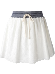 Band Of Outsiders Drawstring Scalloped Hem Skirt White