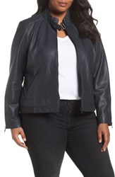 Bernardo Plus Size Women's Jetta Knit Detail Leather Scuba Jacket Peacock