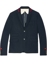 Gucci Cambridge Jacket With Embroidery Men Silk Cotton 54 Blue