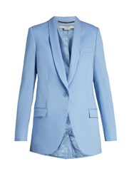 Stella Mccartney Rose Shawl Lapel Wool Blazer Light Blue