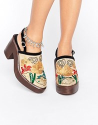 Free People Embroidered Clog Beige