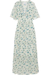 Vilshenko Rena Printed Silk Chiffon Maxi Dress Off White
