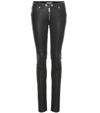 Calvin Klein Jeans Mixed Media Moto Kick Leather And Suede Trousers Black