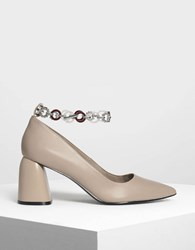 Charles And Keith Chain Anklet Detail Pumps Taupe