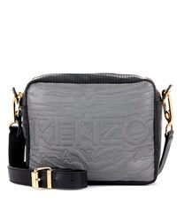 Kenzo Kombo Leather And Fabric Crossbody Bag Black