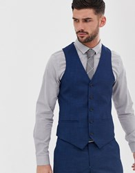 Penguin Original Slim Fit Blue Semi Plain Textured Suit Waistcoat Navy