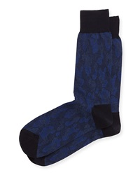 Punto Shadow Camouflage Print Soft Knit Socks Navy