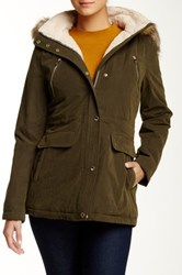 Nautica Faux Fur Trim Anorak Green