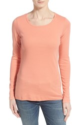 Petite Women's Caslon Long Sleeve Scoop Neck Cotton Tee Coral Apple