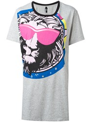 Versus Graphic Print T Shirt Grey
