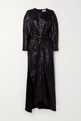 Preen By Thornton Bregazzi Loena Knotted Sequined Tulle And Silk Satin Maxi Dress Black