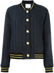 3.1 Phillip Lim Brocade Varsity Bomber Jacket Blue
