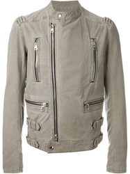 Balmain Leather Style Zipped Up Jacket Nude And Neutrals