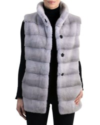 Gorski Mink Fur Vest With Quilted Back Sapphire