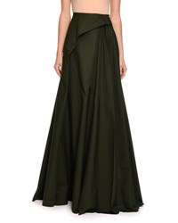 Bottega Veneta Pleated Cotton Maxi Skirt Green Black Green Black