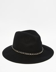 Asos Fedora Hat In Black Felt With Chain Black