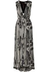 Alice Olivia Lexa Cutout Silk Chiffon Dress Gray