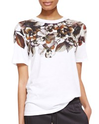 Jason Wu Short Sleeve Floral Print T Shirt White Women's