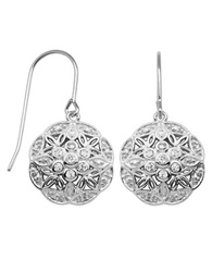 Lord And Taylor Sterling Silver And Cubic Zirconia Flower Drop Earrings