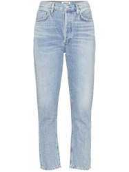 Agolde High Waisted Cropped Jeans Blue