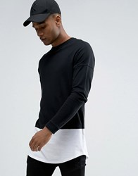 Celio Longline Long Sleeve Top With Contrast Layer Curved Hem Black
