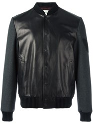 Gucci Butterfly Embroidered Leather Bomber Black