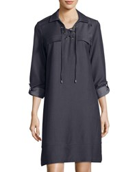Neiman Marcus Lace Up Placket Chambray Shirt Dress Navy
