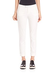Atm Anthony Thomas Melillo Stretch Twill Slim Fit Cropped Pants White