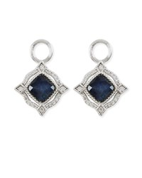 Jude Frances Lisse 18K Delicate Cushion Blue Labradorite Earring Charms With Diamonds White Gold