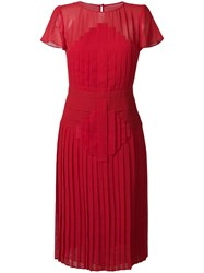 Capucci Pleated Midi Dress Red