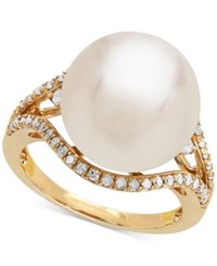 Honora Style Cultured White Ming Pearl 13Mm And Diamond 1 3 Ct. T.W. Ring In 14K Gold Yellow Gold