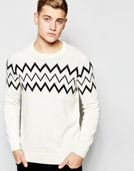 New Look Crew Neck Jumper With Zip Zag Print Cream
