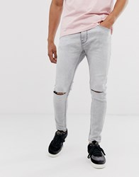 Bershka Super Skinny Jeans In Grey Wash