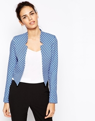 Closet Printed Blazer With Notch Detail Blue