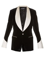Dolce And Gabbana Single Breasted Velvet Blazer Black