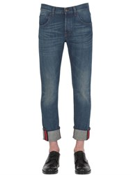 Gucci 17.5Cm Web Cuff Cotton Denim Jeans
