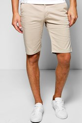 Boohoo Fit Stretch Chino Short Stone